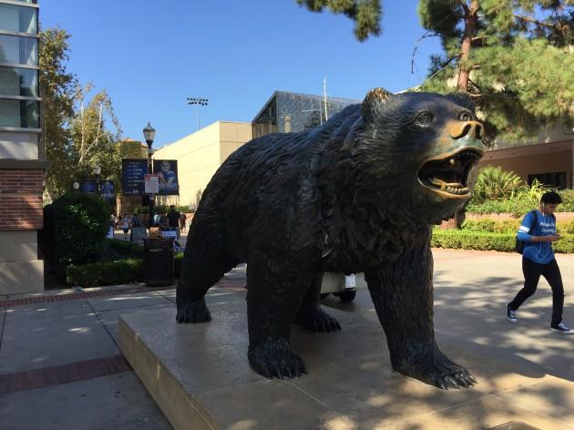미국 로스앤젤레스 캘리포니아대(UCLA) 스포츠팀의 상징인 곰(Bruins) 동상. - 로스앤젤레스=이현경 기자 uneasy75@donga.com 제공
